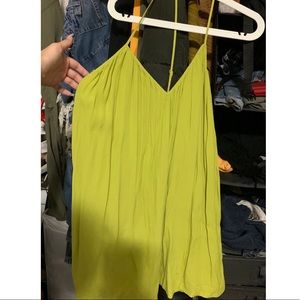 Lime green spaghetti strap low cut back dress